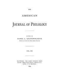 The American Journal of Philology : 1899... Volume Vol. 20 by Larmour, David, H. J.