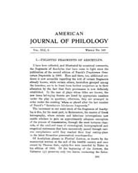 The American Journal of Philology : 1920... Volume Vol. 41 by Larmour, David, H. J.