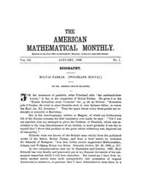 The American Mathematical Monthly : 1896... Volume Vol. 3 by Chapman, scott