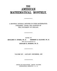 The American Mathematical Monthly : 1907... Volume Vol. 14 by Chapman, scott