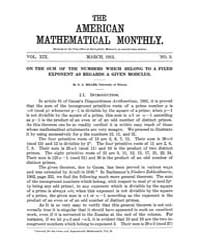 The American Mathematical Monthly : 1912... Volume Vol. 19 by Chapman,scott