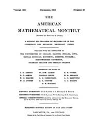 The American Mathematical Monthly : 1913... Volume Vol. 20 by Chapman,scott