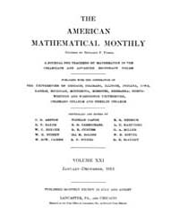 The American Mathematical Monthly : 1914... Volume Vol. 21 by Chapman,scott