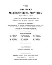 The American Mathematical Monthly : 1915... Volume Vol. 22 by Chapman, scott