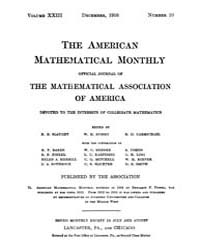 The American Mathematical Monthly : 1916... Volume Vol. 23 by Chapman,scott
