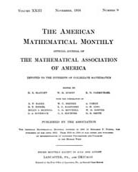 The American Mathematical Monthly : 1916... Volume Vol. 23 by Chapman, scott