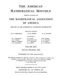 The American Mathematical Monthly : 1918... Volume Vol. 25 by Chapman,scott