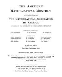 The American Mathematical Monthly : 1919... Volume Vol. 26 by Chapman,scott