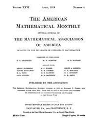 The American Mathematical Monthly : 1919... Volume Vol. 26 by Chapman, scott