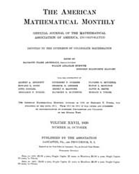 The American Mathematical Monthly : 1920... Volume Vol. 27 by Chapman,scott