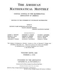The American Mathematical Monthly : 1920... Volume Vol. 27 by Chapman, scott