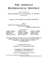 The American Mathematical Monthly : 1921... Volume Vol. 28 by Chapman, scott