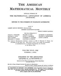 The American Mathematical Monthly : 1922... Volume Vol. 29 by Chapman,scott