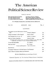 The American Political Science Review : ... Volume Vol. 6 by