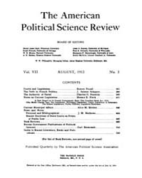 The American Political Science Review : ... Volume Vol. 7 by