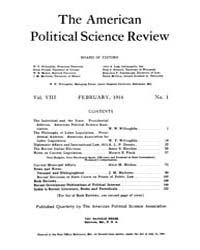 The American Political Science Review : ... Volume Vol. 8 by