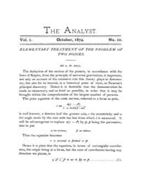 The Analyst : 1874 Vol. 1 No. 10 Oct Volume Vol. 1 by