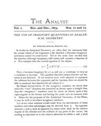 The Analyst : 1874 Vol. 1 No. 11-12 Nov.... Volume Vol. 1 by