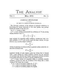 The Analyst : 1874 Vol. 1 No. 5 May Volume Vol. 1 by