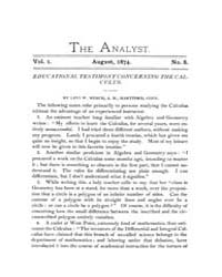 The Analyst : 1874 Vol. 1 No. 8 Aug Volume Vol. 1 by