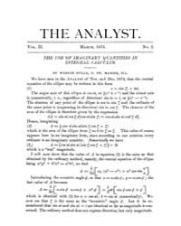 The Analyst : 1875 Vol. 2 No. 2 Mar Volume Vol. 2 by