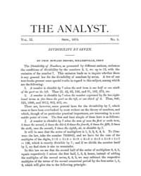 The Analyst : 1875 Vol. 2 No. 5 Sep Volume Vol. 2 by