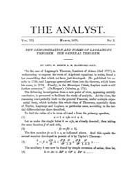 The Analyst : 1876 Vol. 3 No. 2 Mar Volume Vol. 3 by