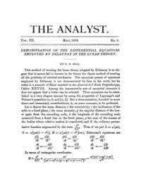 The Analyst : 1876 Vol. 3 No. 3 May Volume Vol. 3 by