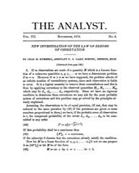 The Analyst : 1876 Vol. 3 No. 6 Nov Volume Vol. 3 by