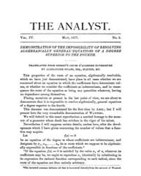 The Analyst : 1877 Vol. 4 No. 3 May Volume Vol. 4 by