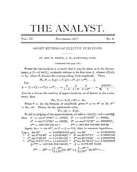 The Analyst : 1877 Vol. 4 No. 6 Nov Volume Vol. 4 by