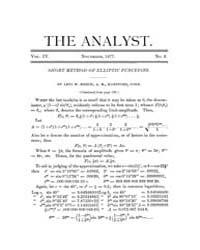 The Analyst : 1877 Vol. 4 No. 6 Nov Volume Vol. 4 by