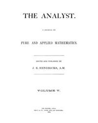 The Analyst : 1878 Vol. 5 No. 1 Jan Volume Vol. 5 by