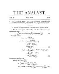 The Analyst : 1878 Vol. 5 No. 4 Jul Volume Vol. 5 by