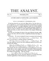 The Analyst : 1878 Vol. 5 No. 5 Sep Volume Vol. 5 by