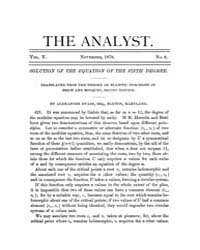 The Analyst : 1878 Vol. 5 No. 6 Nov Volume Vol. 5 by