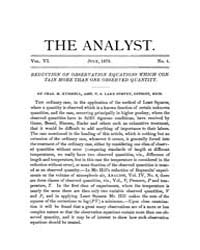 The Analyst : 1879 Vol. 6 No. 4 Jul Volume Vol. 6 by