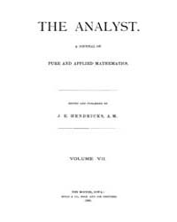 The Analyst : 1880 Vol. 7 No. 1 Jan Volume Vol. 7 by