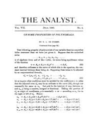 The Analyst : 1880 Vol. 7 No. 4 Jul Volume Vol. 7 by