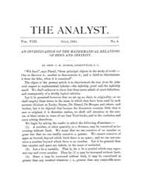 The Analyst : 1881 Vol. 8 No. 4 Jul Volume Vol. 8 by
