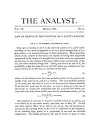 The Analyst : 1882 Vol. 9 No. 2 Mar Volume Vol. 9 by