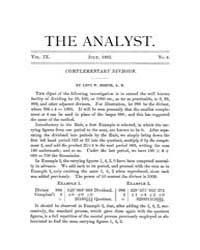 The Analyst : 1882 Vol. 9 No. 4 Jul Volume Vol. 9 by