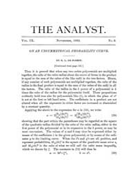 The Analyst : 1882 Vol. 9 No. 6 Nov Volume Vol. 9 by
