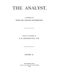 The Analyst : 1883 Vol. 10 No. 1 Jan Volume Vol. 1 by