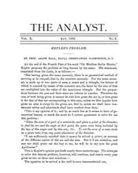 The Analyst : 1883 Vol. 10 No. 3 May Volume Vol. 1 by